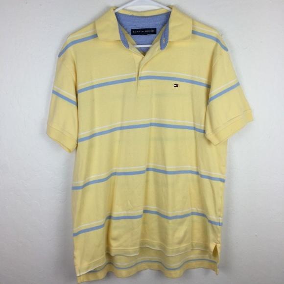 6e271008 Men's Medium Tommy Hilfiger Yellow Blue Polo Shirt.  M_5ad692a8b7f72b76f6f5a61f